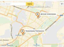 Детская и взрослая поликлиника ЖК Платовского на карте Ростова