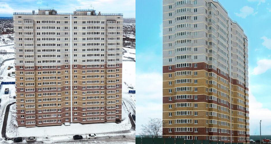 Внешний вид Литера 5 в  ЖК Платовский зимой 2019 года